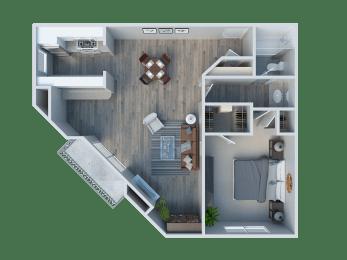 1 Bedroom/ 1 Bathroom Plan D