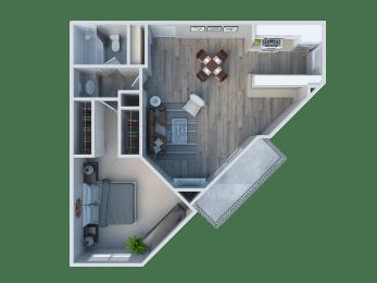1 Bedroom/ 1 Bathroom Plan F