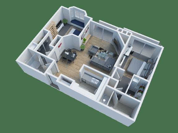 Floor Plan  2 Bed 2 Bath Floorplan at Cahuenga Heights 2104 N Cahuenga Blvd, Los Angeles, CA 90068