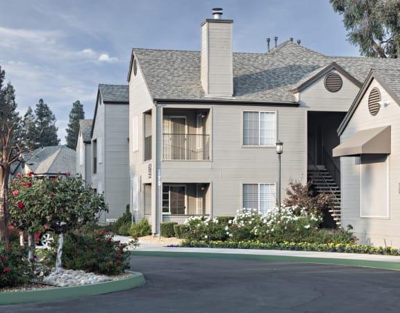 Grey two story apartment, Park Ridge Apartments, Fresno, California, 93711