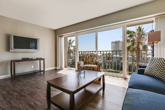 Hardwood Style Floor and Great Balcony View at Marina Tower