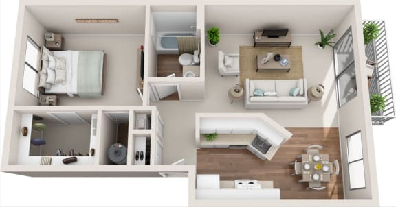 Floor Plan  Summerfield 1B/1B 3D Floor Plan