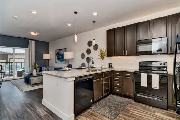 Open Kitchen at West Line Flats Apartments in Lakewood, CO
