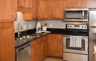 Kitchen With Modern Appliances at Waterstone Place, Minnesota