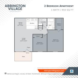 B1 Floor Plan at Abbington Village Apartments, Ohio, 43228