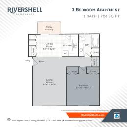 1 Bedroom 1 Bath Floor Plan at Rivershell Apartments, Michigan, 48911