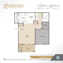 One Bedroom Floor Plan at Park Pines Apartments, Mississippi, 39401