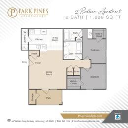 Two Bedroom Floor Plan at Park Pines Apartments, Hattiesburg, MS, 39401