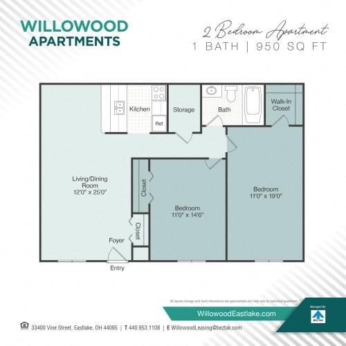 Floor Plan  2 Bedroom / 1 Bath Floor Plan at Willowood Apartments, Eastlake