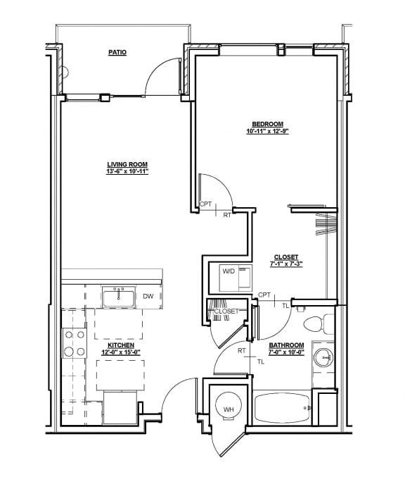 Remington Floor Plan at Cycle Apartments, Ft. Collins, 80525