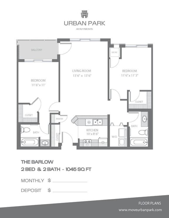 Floor Plan  The Barlow 2 bedroom 2 bath floor plan 1045 square feet
