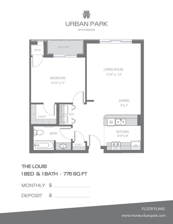 Floor Plan  The Louis floor plan 1 bedroom 1 bath 775 sq ft