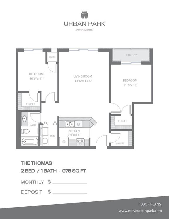 Floor Plan  The Thomas 2 bedroom 1 bath floor plan 975 square feet