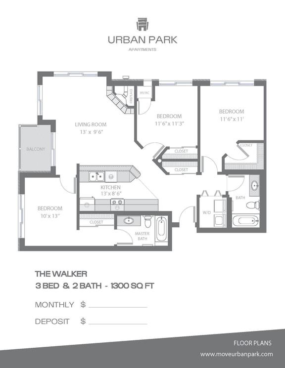 Floor Plan  The Walker 3 bedroom 2 bath floor plan 1300 square feet