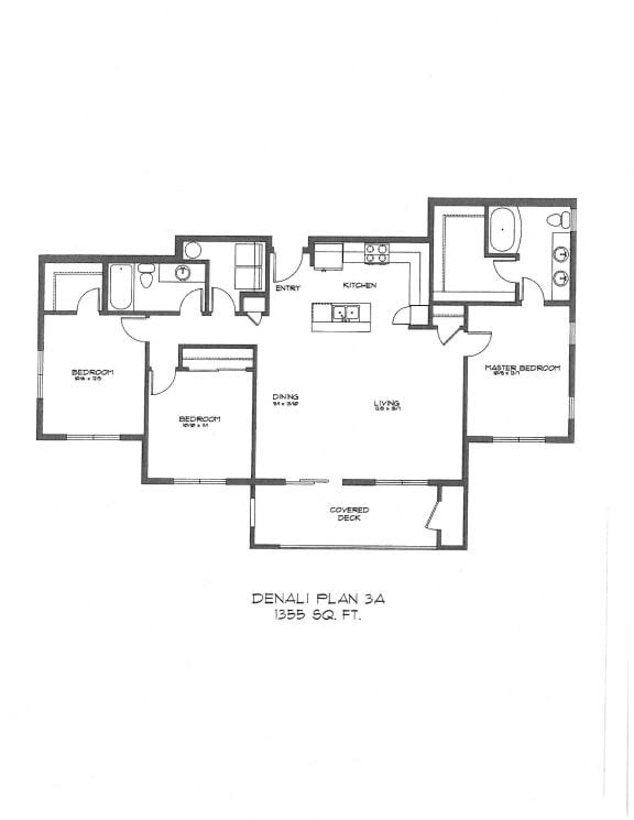 Floor Plan  Three Bedroom at StonePointe, University Place, WA