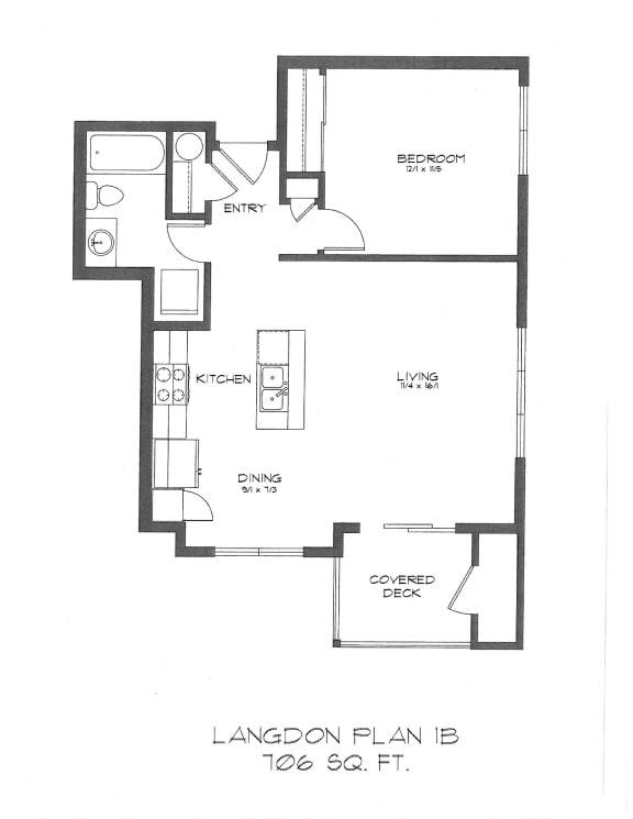 Floor Plan  One Bedroom at StonePointe, Washington