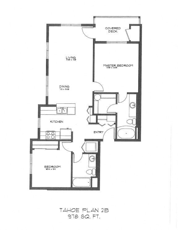 Floor Plan  Two Bedroom at StonePointe, University Place, WA