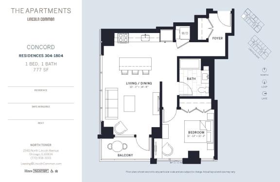 Lincoln Common Chicago Concord 1 Bedroom North Floor Plan Orientation