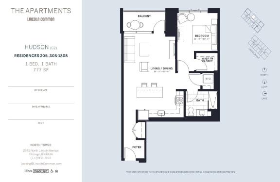 Lincoln Common Chicago Hudson C2 1 Bedroom North Floor Plan Orientation
