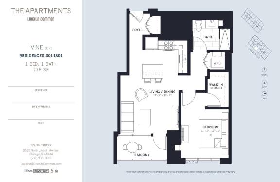 Lincoln Common Chicago VineC7 1 Bedroom South Floor Plan Orientation