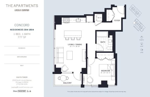 Lincoln Common Chicago Concord 1 Bedroom South Floor Plan Orientation