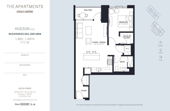 Lincoln Common Chicago Hudson 1 Bedroom South Floor Plan Orientation