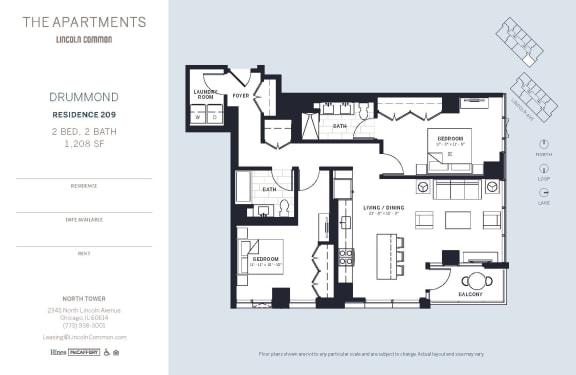 Lincoln Common Chicago Drummond 2 Bedroom 1208sf North Floor Plan Orientation