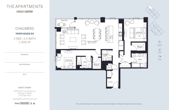 Lincoln Common Chicago Chalmers 2 Bedroom North Floor Plan Orientation