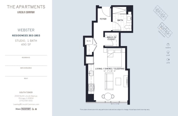 Lincoln Common Chicago Webster Studio South Floor Plan Orientation
