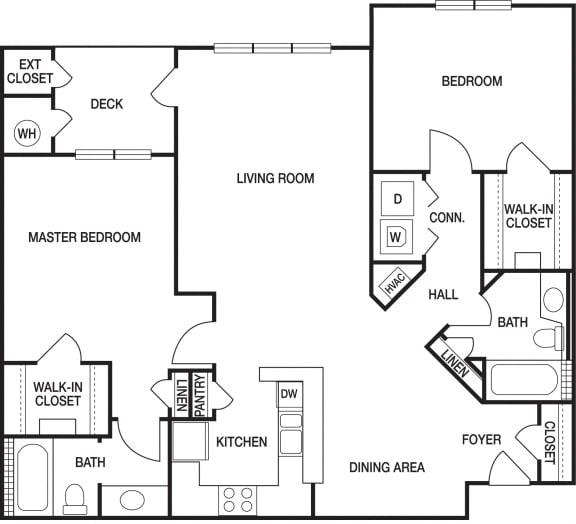Floor Plan  2 Bedroom 2 Bath Renovated