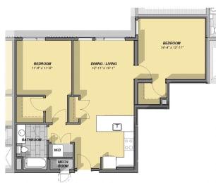 2 Bedroom 1 Bathroom Floor Plan at Park77, Cambridge, Massachusetts
