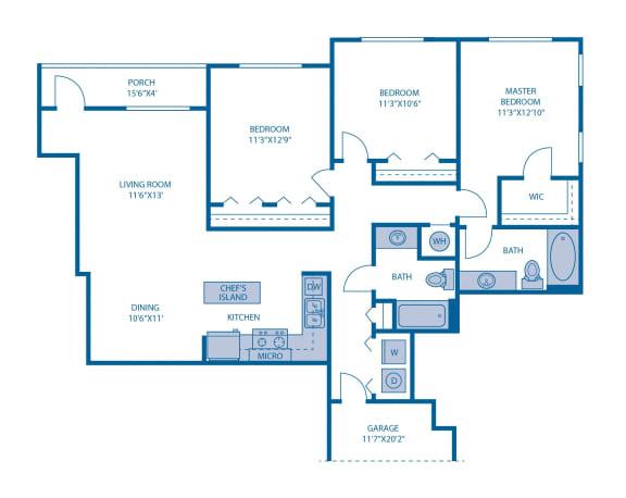 Floor Plan  Three Bedroom Floor Plan at Horizon at Miramar, Miramar, 33025