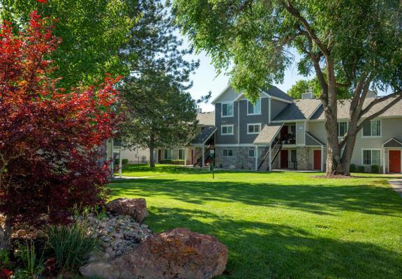 Green spaces at Broadmoor Village Apartments in West Jordan, UT