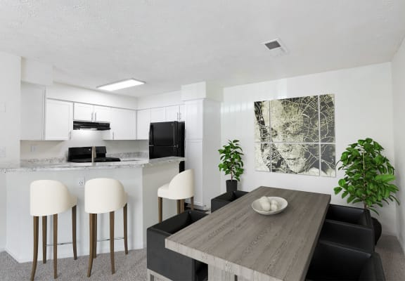 model apartment dining room and kitchen