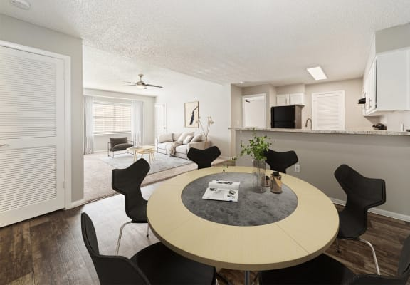 model apartment dining room, kitchen and living room