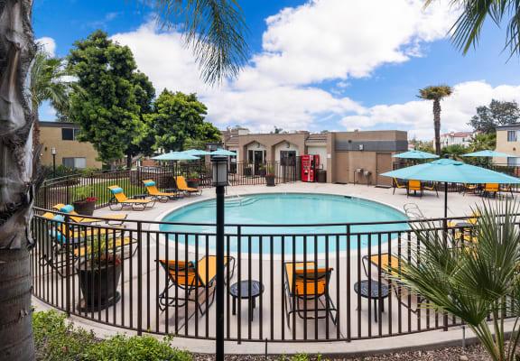 Swimming pool and sundeck at Cove La Mesa in La Mesa, CA