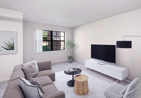 Model living room at Dale Forest Apartments in Woodbridge, VA