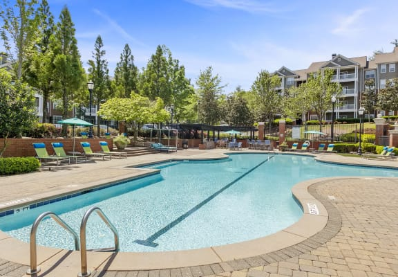 Pool and sundeck at Parkside at Town Center Apartment Homes in Marietta, GA