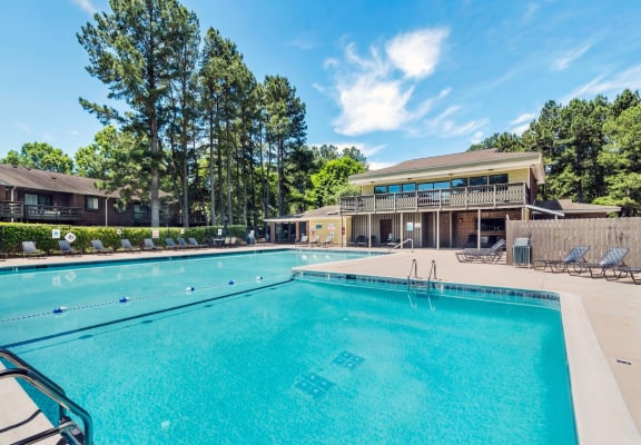 Pool and sundeck at Spring Forest Apartments in Raleigh, NC