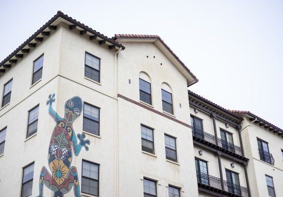 Exterior of building with painted lizard