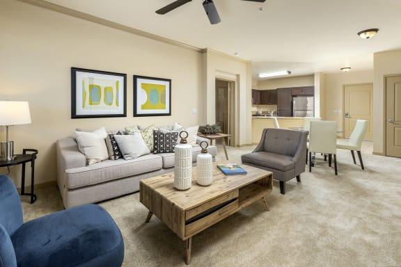 Living Area With Ceiling Fan at 55+ FountainGlen  Jacaranda, Fullerton, California