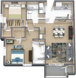 Floor Plan 2 Bd 2 Bth