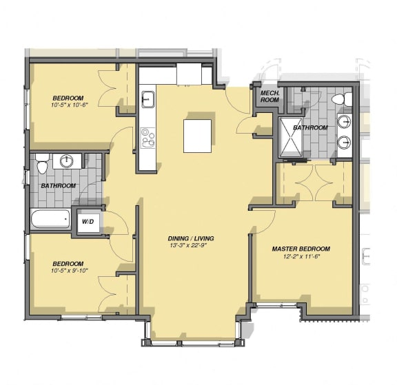 Floor Plan  3 Bedroom 2 Bathroom Floor Plan at Park77, Massachusetts, 02138