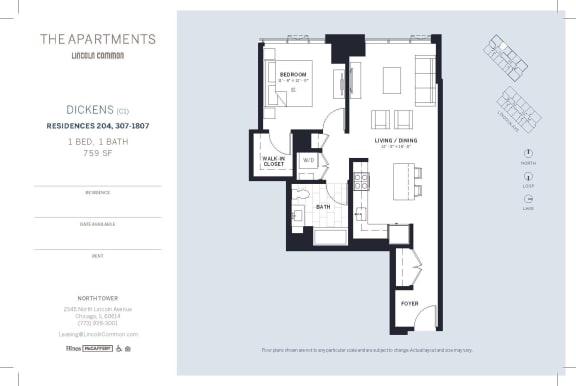 Lincoln Common Chicago Dickens C1 1 Bedroom North Floor Plan Orientation