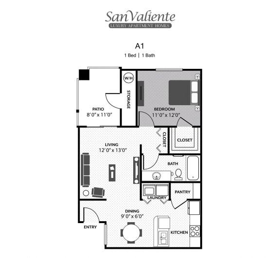 Floor Plan  San Valiente : A1 Floorplan : 1B/1B