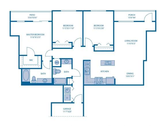 Floor Plan  Three Bedroom Floor Plan at Horizon at Miramar, Miramar, Florida