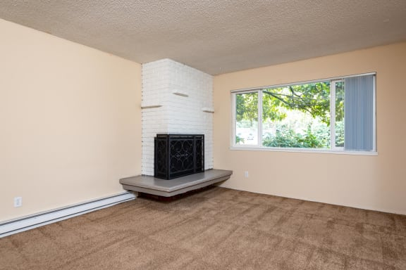 Woodiside Vista   Living Room with Wood Burning Fireplace