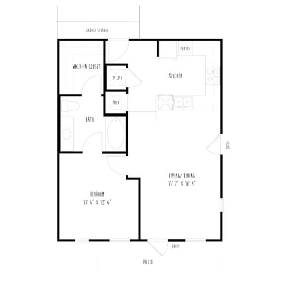 Floor Plan  A4G: 1Bedroom, 1 Bathroom