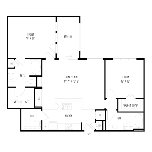 Floor Plan  B1: 2 Bedroom, 2 Bathroom Apartment