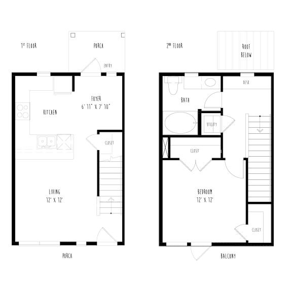 Floor Plan  THA5: 1 Bedroom, 1 Bathroom Townhome